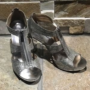 New w/o Box, Michael Kors silver sparkle heels